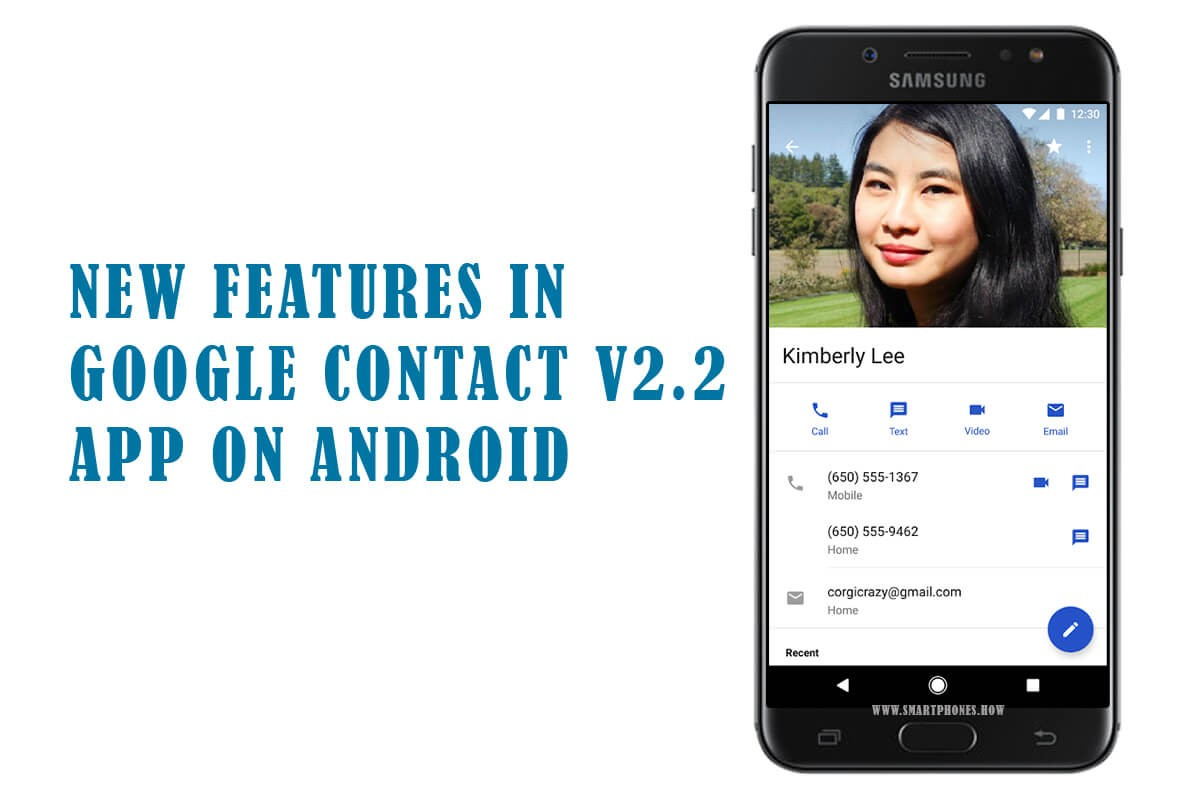 New features in Google Contacts v2.2 App on Android